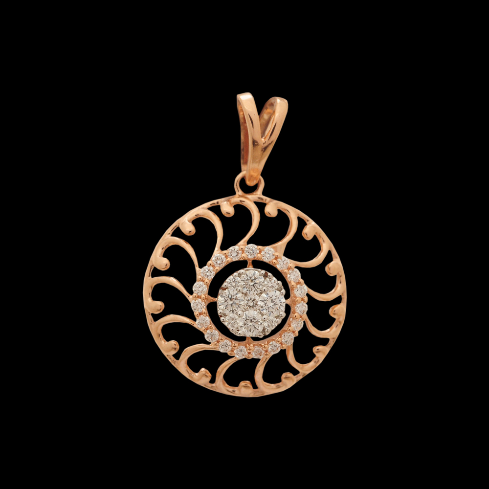 Rose-Gold and White-Gold Polish Diamond Pendant And Earrings Set