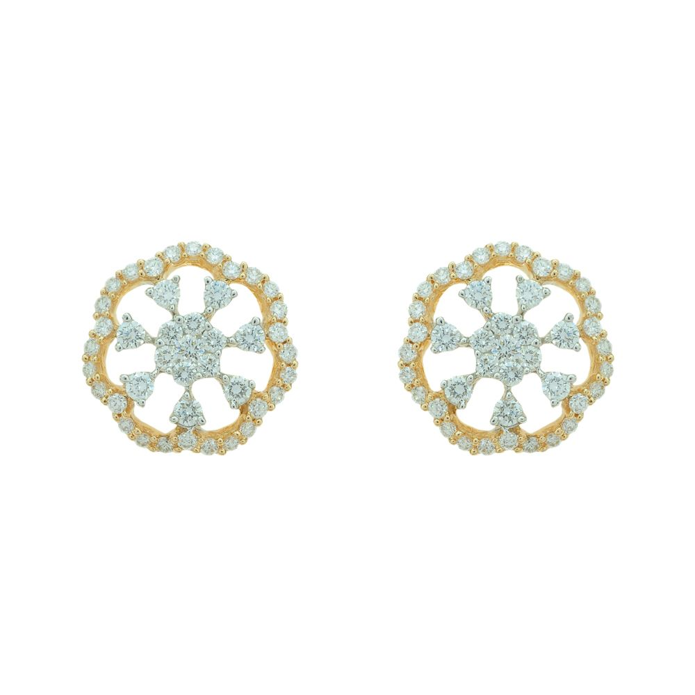 Floral  Diamond Top Earrings