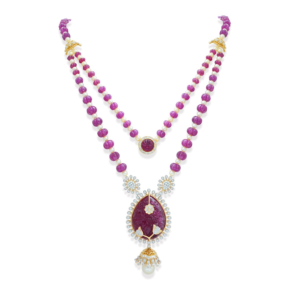 Carved Ruby Tourmaline Necklace Earrings Set