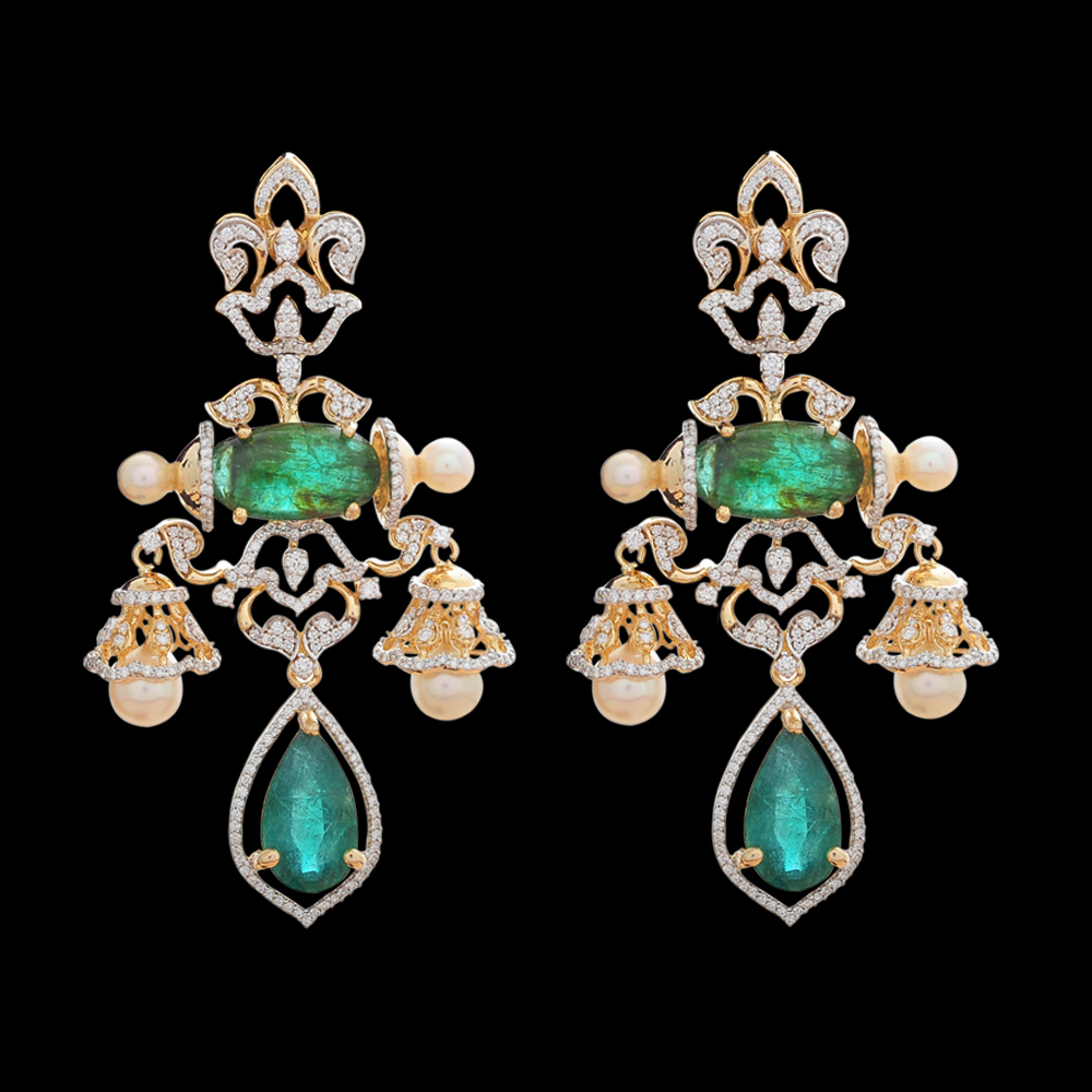 Emerald Diamond Jhumka Earrings