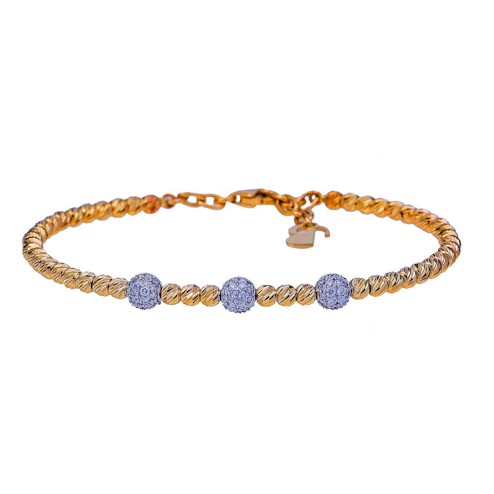 Flex Style Round Beaded Diamond Bangle Bracelet