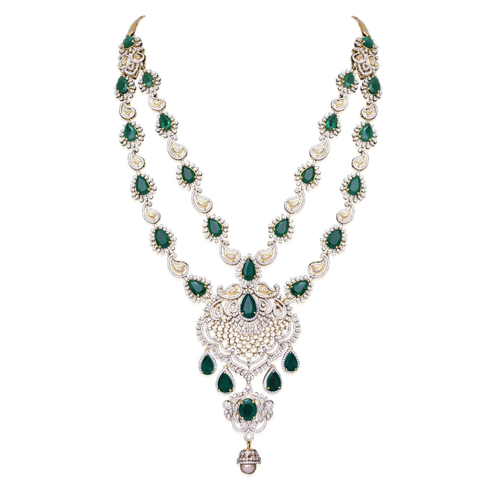 22 in 1 Detachable Multipurpose Emerald Diamond Necklace
