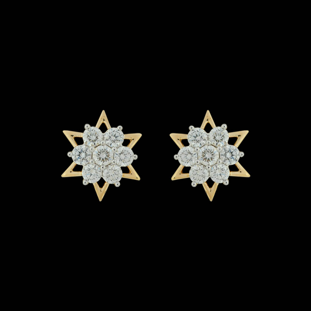 Star Floral Diamond Tops Earrings
