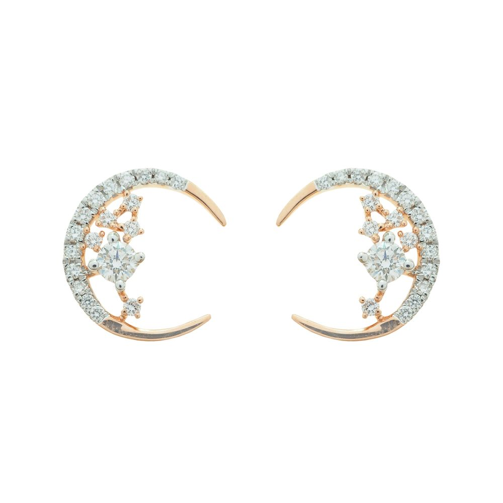 Crescent Moon Diamond Top Earrings