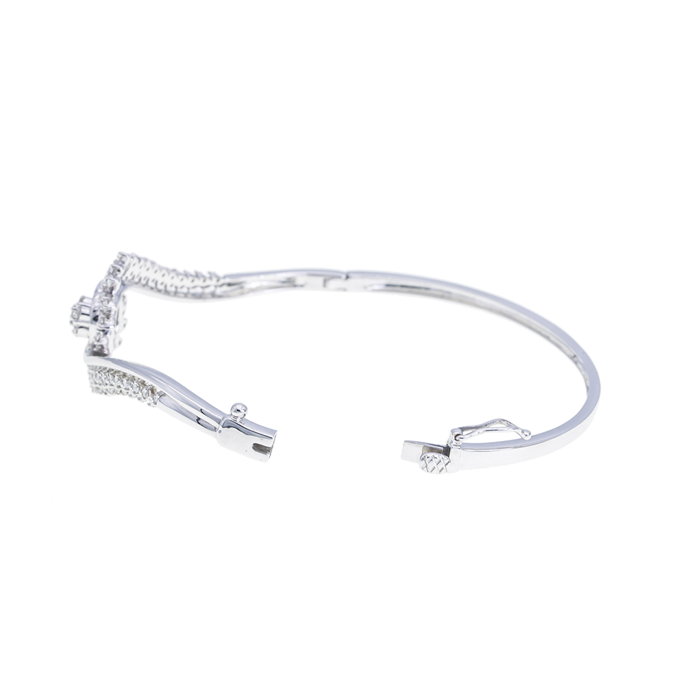 Cross Arch Floral Diamond Bangle Bracelet