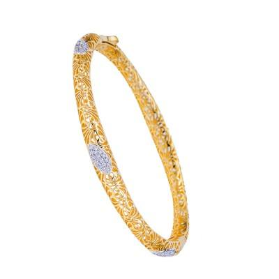 diamond openwork filigree bangle bracelet