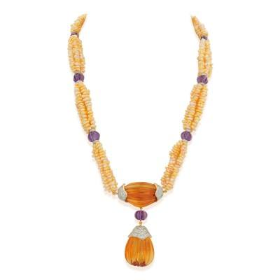 pearl citrine diamond necklace