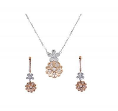 two-tone diamond floral pendant earring set