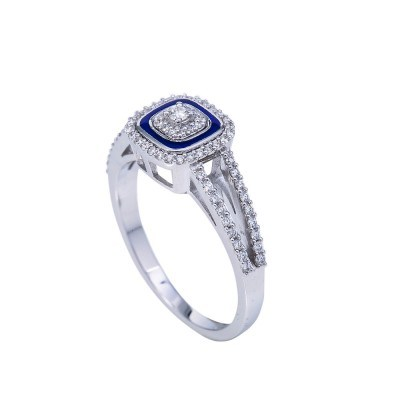 diamond and blue enamel ring