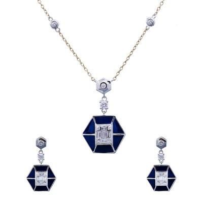 blue enamel diamond pendant earrings set