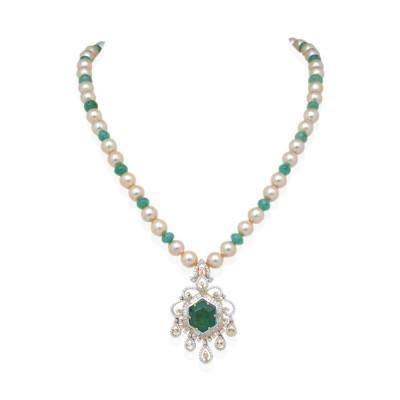 emerald pearl diamond necklace