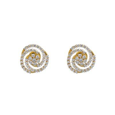 diamond spiral stud earrings