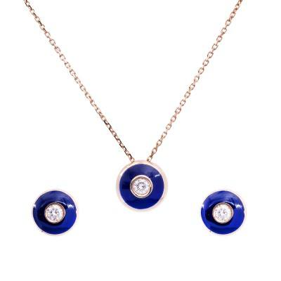 blue enamel diamond pendant earring set