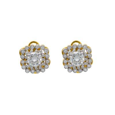 solitaire diamond halo stud earrings