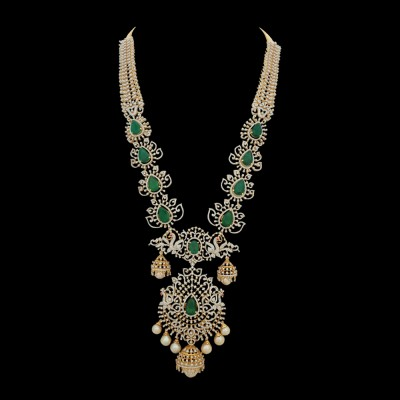 sparkling emerald and ruby necklace 17282