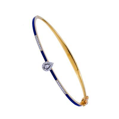 navy blue enamel diamond round bangle bracelet