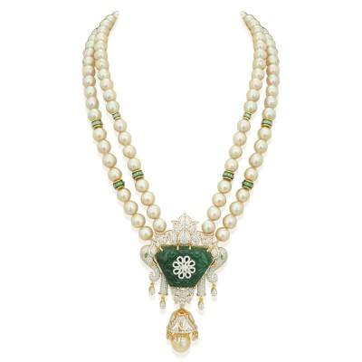 carved emerald diamond necklace